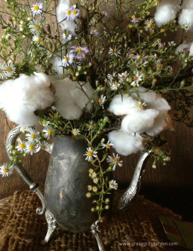 decorate with cotton and wildflowers
