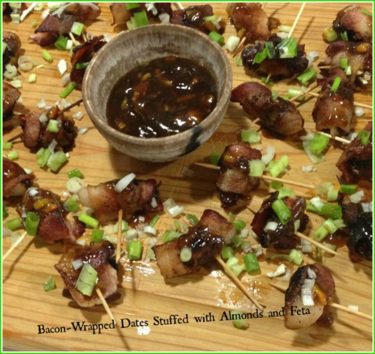 Bacon Wrapped Dates Stuffed with Feta and Almonds