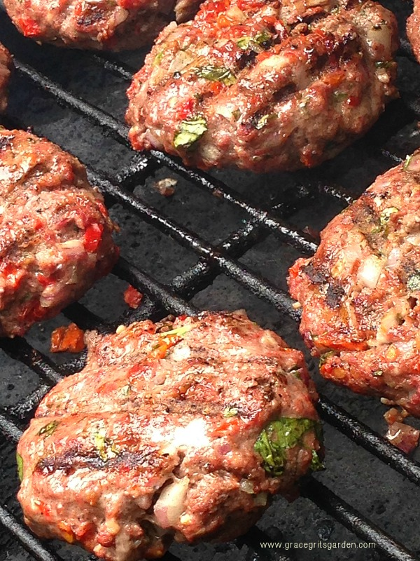 Grilled Basil Burgers!!! see the basil and sundried tomato? yum.