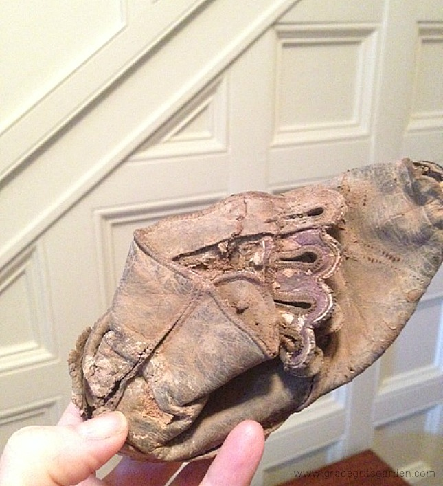 During renovation of our home built in 1876, an old shoe was found in the wall.