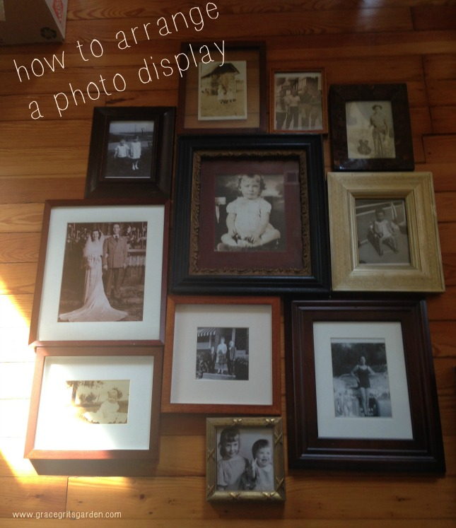 arranging a photo display - start by laying pictures on the floor