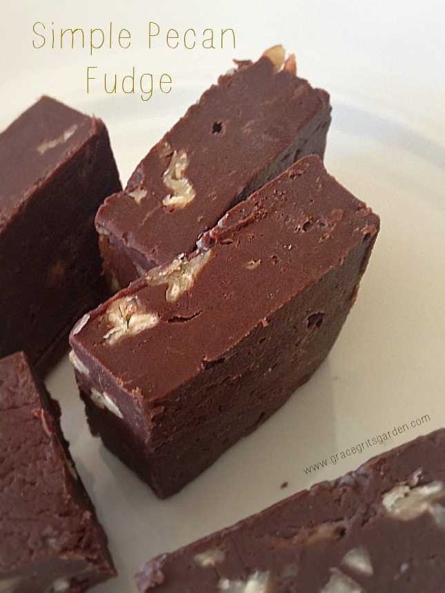 Simple Pecan Fudge - 4 ingredients - no bake - no fail!