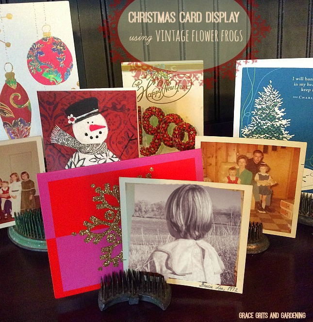 display christmas cards using vintage flower frogs