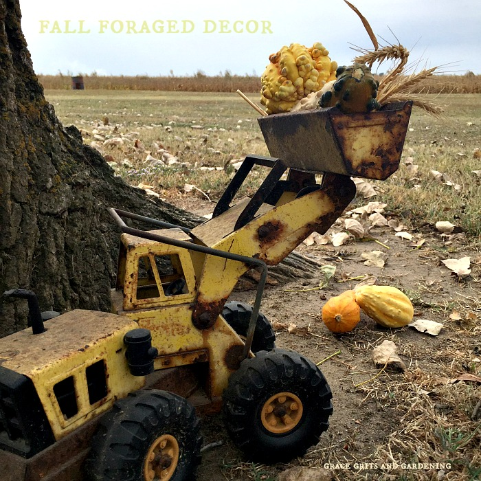 Fall Foraged Decor - Tonka Truck makes fun decoration!
