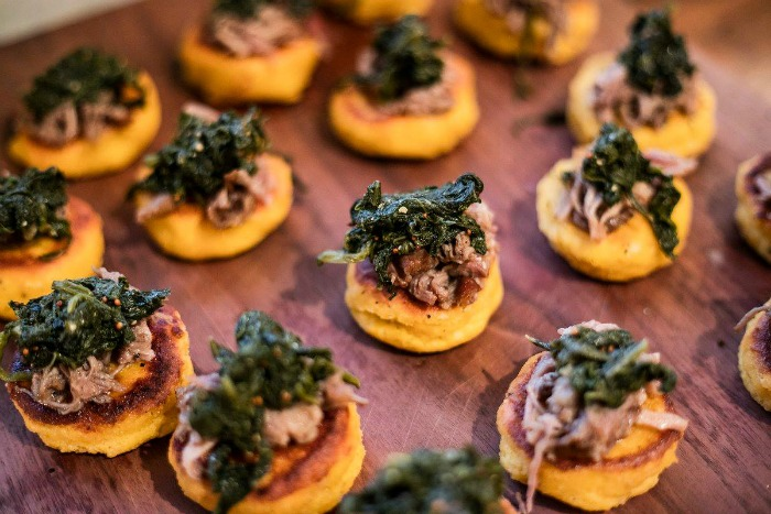 Hoe Cakes with pork and greens