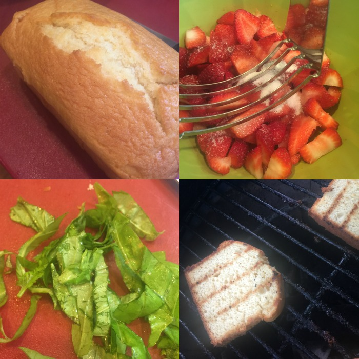 grilled poundcake with strawberries and basil